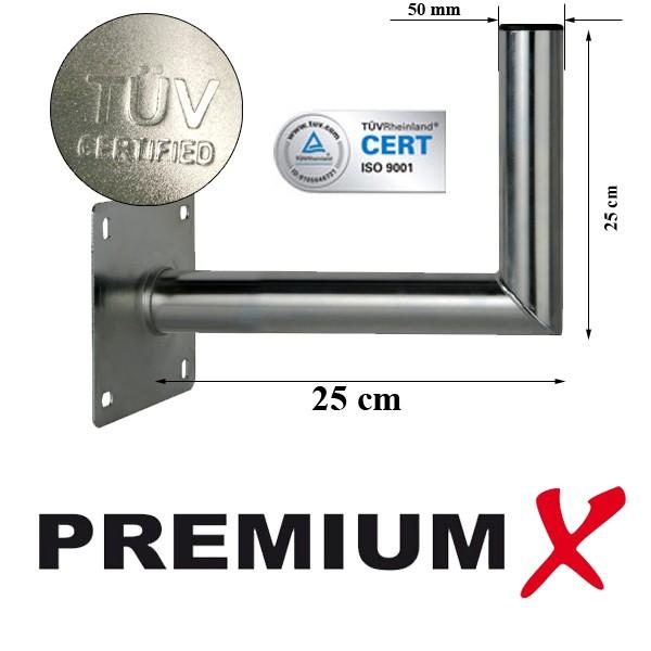 wandhalter premiumx 25 cm alu t v gepr ft f r wandmontage montage f r sat sch ssel spiegel. Black Bedroom Furniture Sets. Home Design Ideas