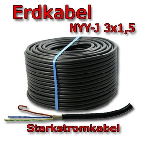 50m erdkabel nyy j 3x1 5mm elektro kabel 3 x 1 5 neu ebay. Black Bedroom Furniture Sets. Home Design Ideas