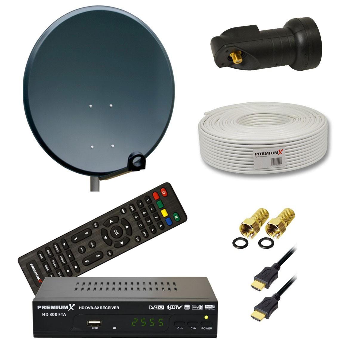 premiumx digital sat anlage 80cm sch ssel single lnb full hd receiver mit kabel ebay