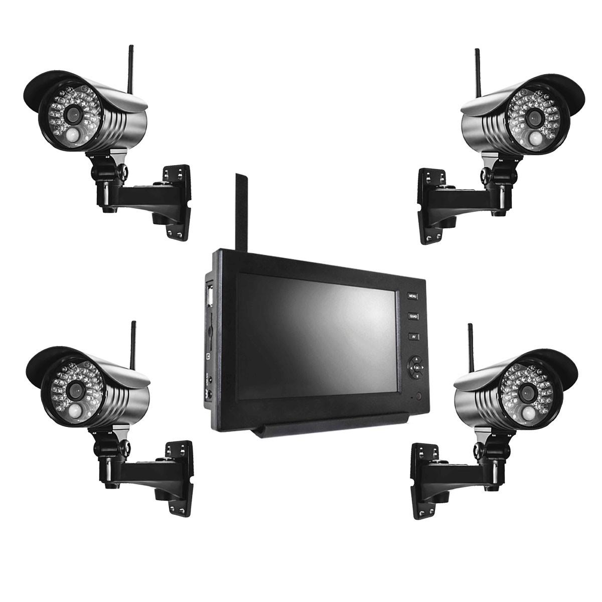 funk video berwachungssystem set 4x kamera 1x monitor video berwachung system ebay. Black Bedroom Furniture Sets. Home Design Ideas