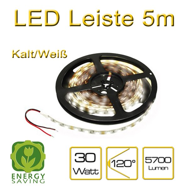 led leiste 12v dc 60 st ck 5050 leds m kalt wei 6000k dimmbar flexibel 5700 lumen 5m auf. Black Bedroom Furniture Sets. Home Design Ideas