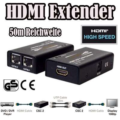 converter csc 2 hdmi netzwerk cat5 cat6 extender lan 50m. Black Bedroom Furniture Sets. Home Design Ideas
